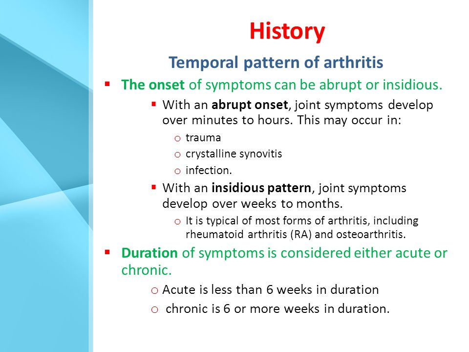 Temporal pattern of arthritis