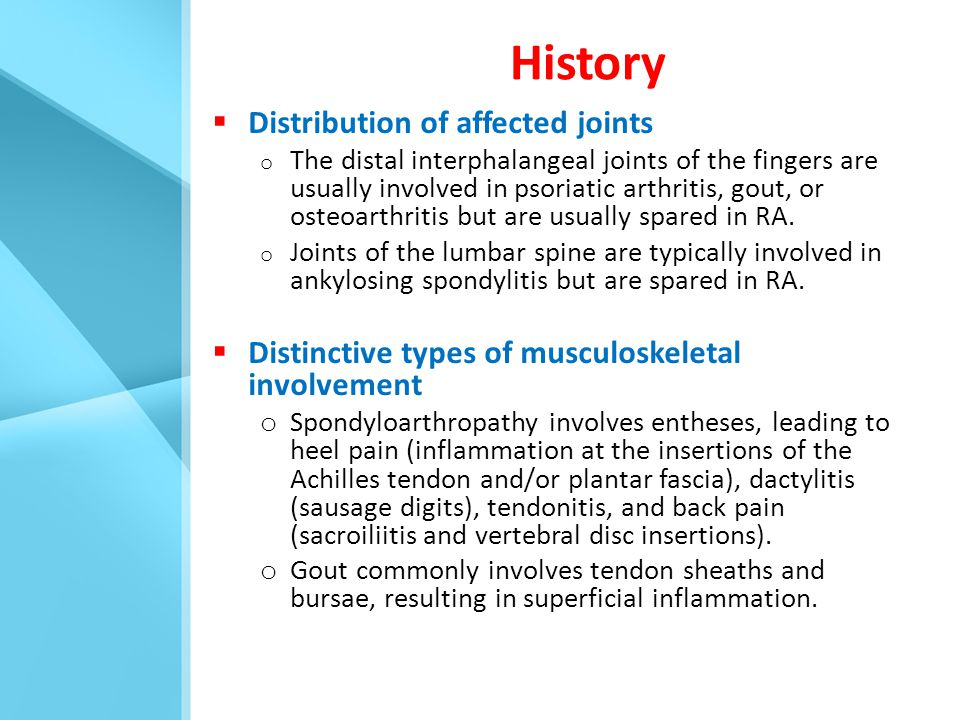 History Distribution of affected joints