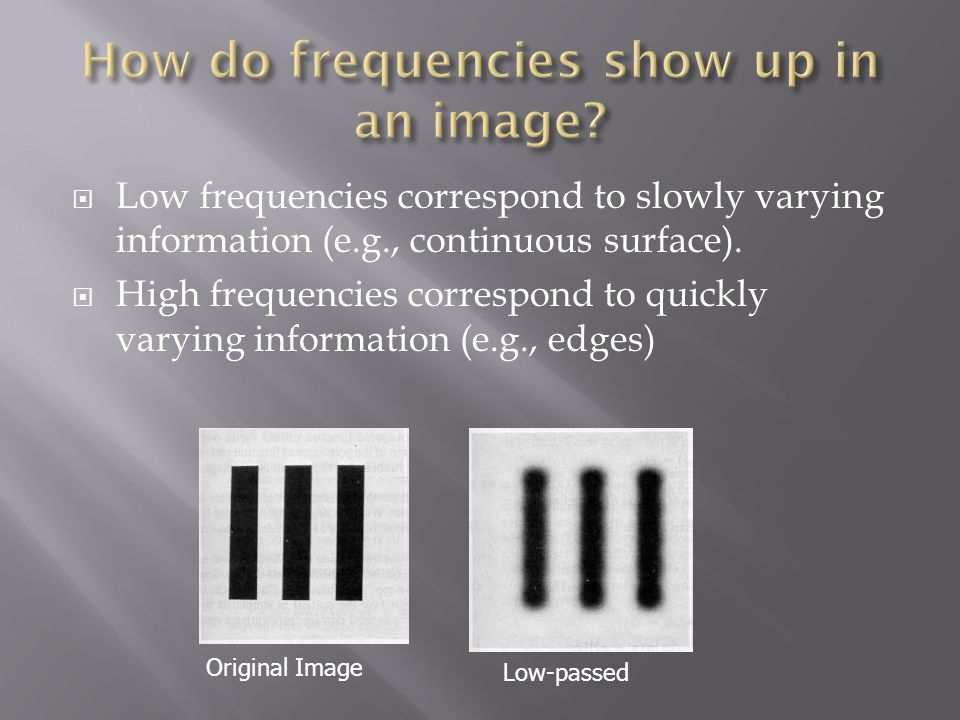 How do frequencies show up in an image