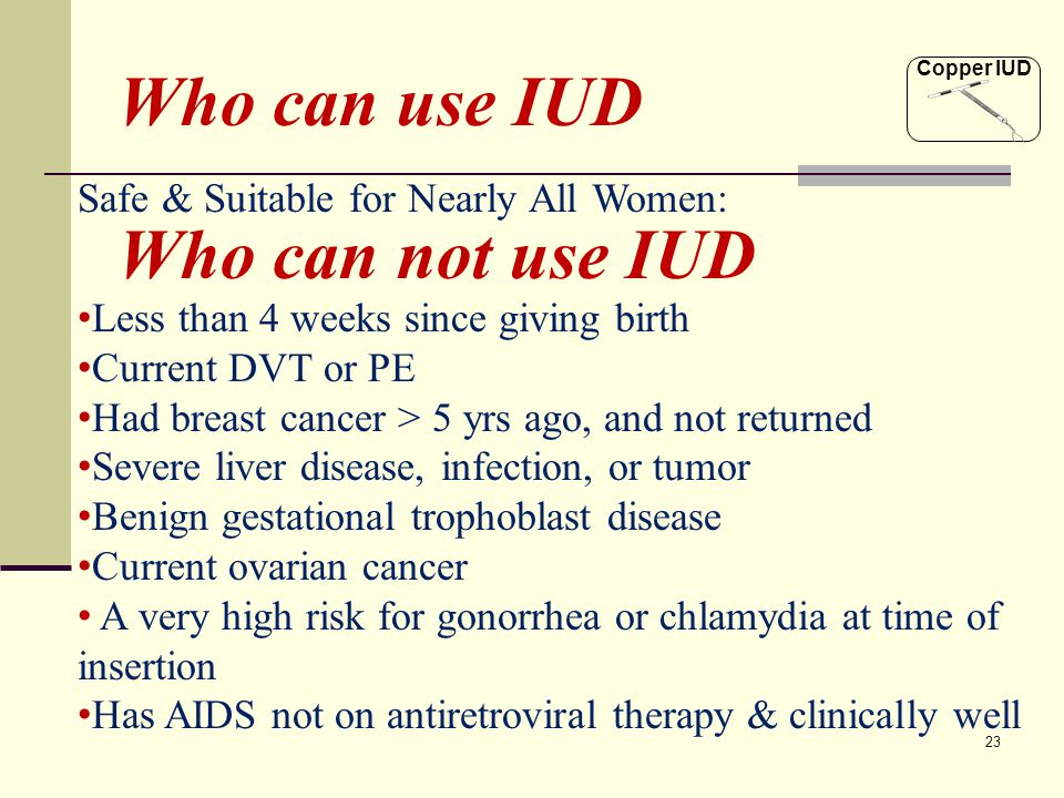 Who can use IUD Who can not use IUD