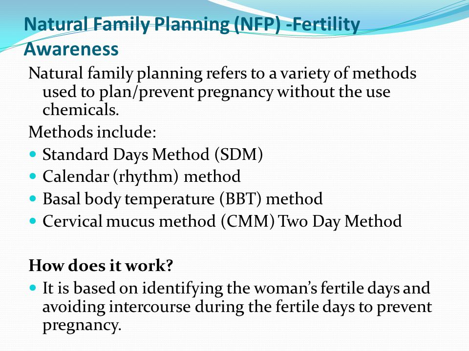 Natural Family Planning (NFP) -Fertility Awareness