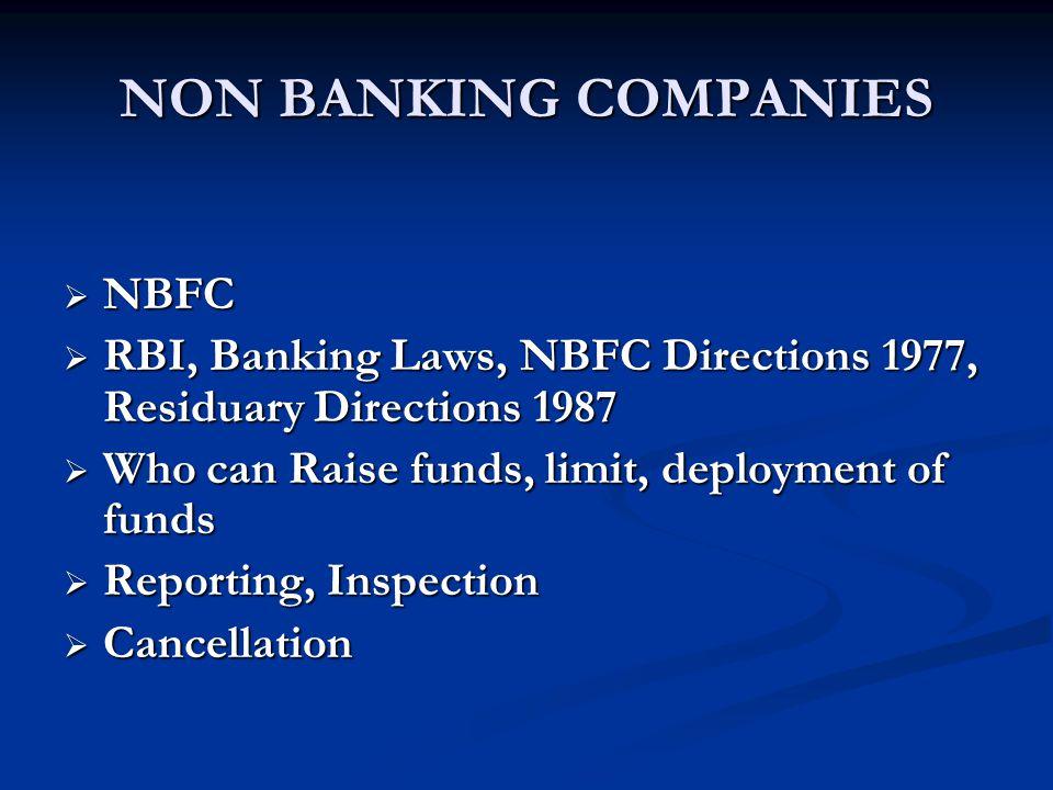 NON BANKING COMPANIES NBFC