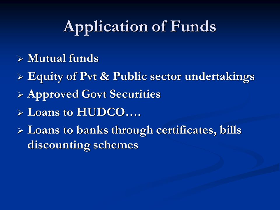 Application of Funds Mutual funds