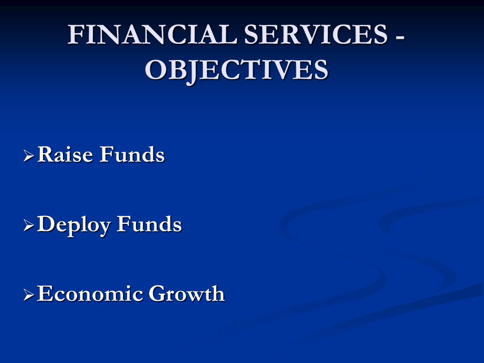 FINANCIAL SERVICES - OBJECTIVES