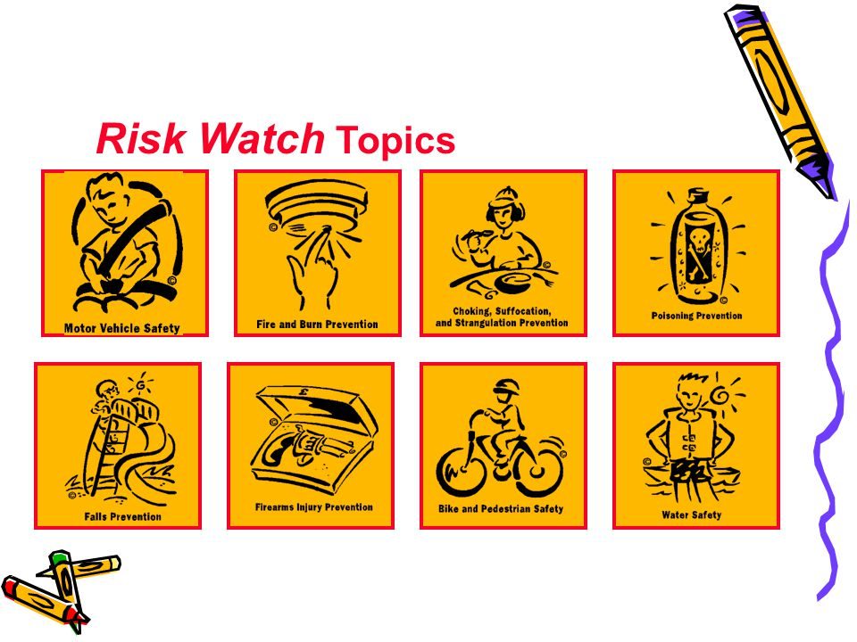 Risk Watch Topics The eight risk areas covered in Risk Watch are: