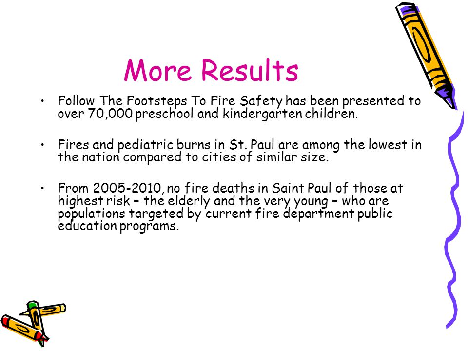 More Results Follow The Footsteps To Fire Safety has been presented to over 70,000 preschool and kindergarten children.