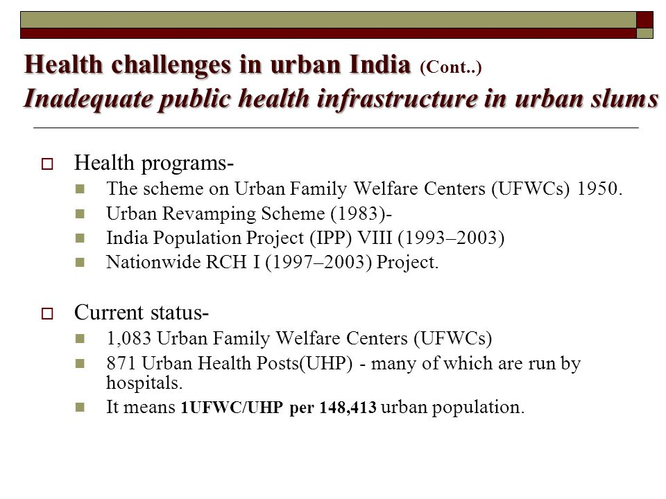 Health challenges in urban India (Cont