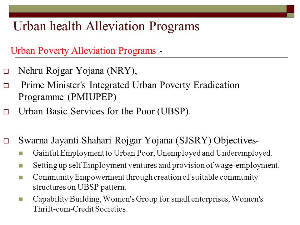 Urban health Alleviation Programs