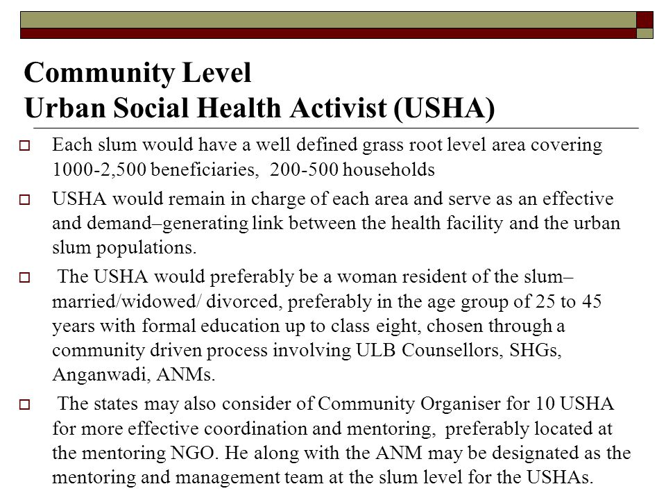 Community Level Urban Social Health Activist (USHA)