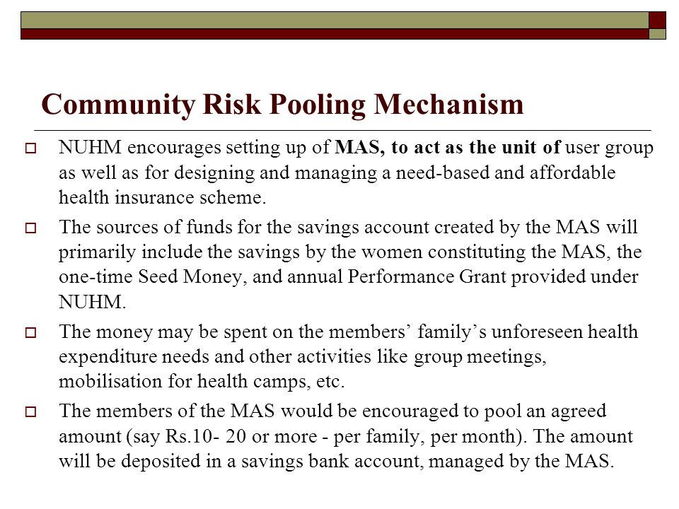 Community Risk Pooling Mechanism