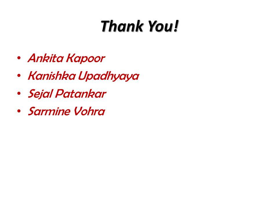 Thank You! Ankita Kapoor Kanishka Upadhyaya Sejal Patankar