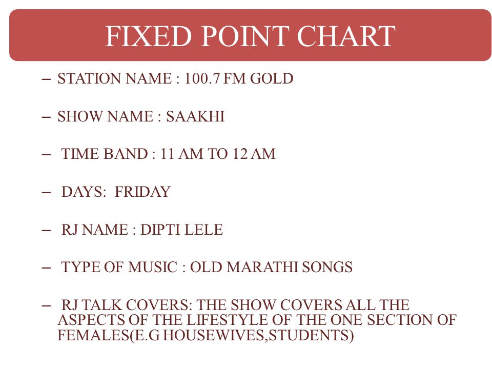 FIXED POINT CHART STATION NAME : 100.7 FM GOLD SHOW NAME : SAAKHI