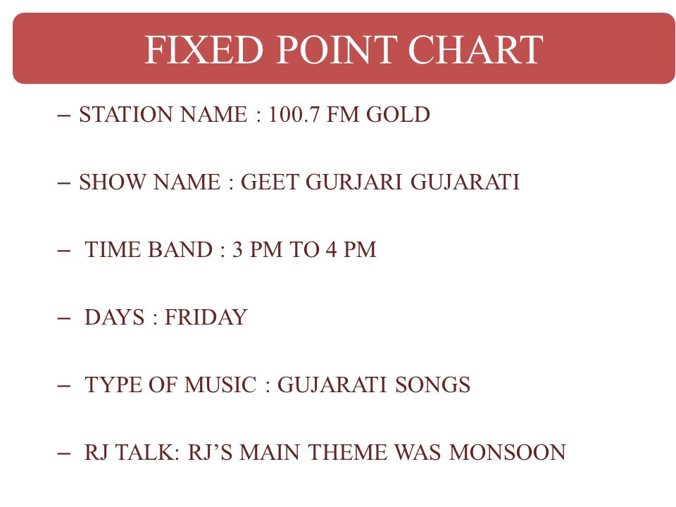 FIXED POINT CHART STATION NAME : 100.7 FM GOLD