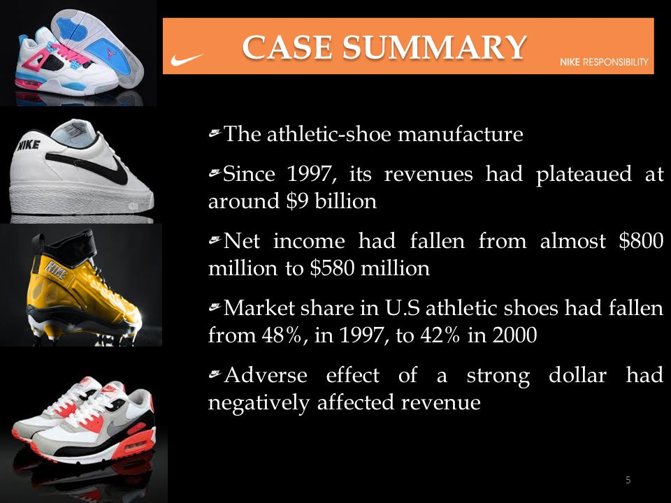 CASE SUMMARY The athletic-shoe manufacture