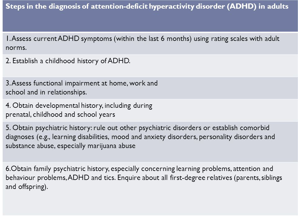 Steps in the diagnosis of attention-deficit hyperactivity disorder (ADHD) in adults