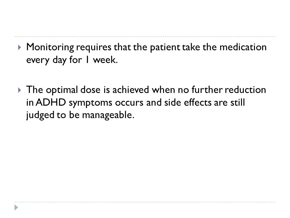 Monitoring requires that the patient take the medication every day for 1 week.
