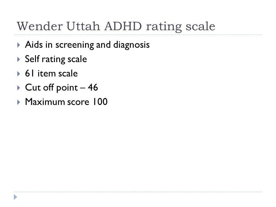 Wender Uttah ADHD rating scale