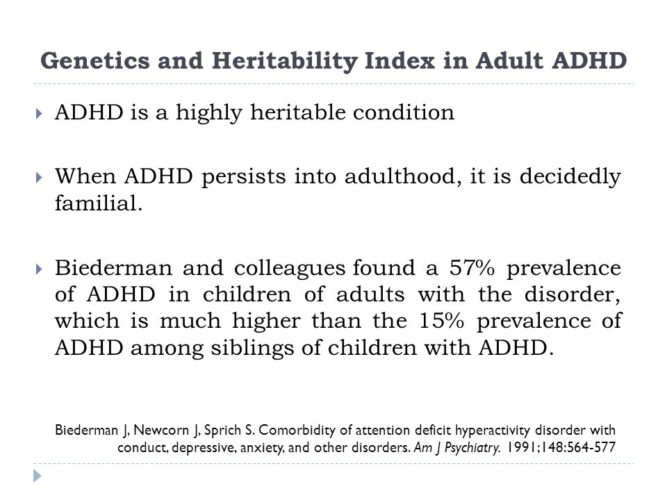 Genetics and Heritability Index in Adult ADHD