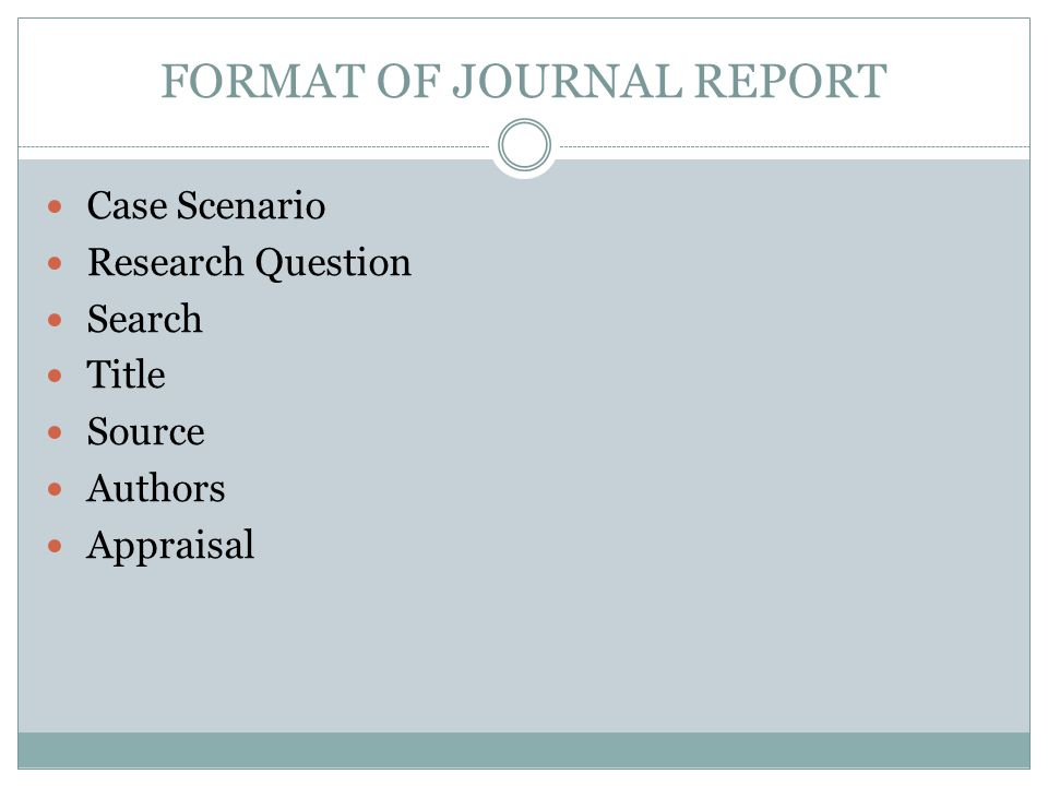 FORMAT OF JOURNAL REPORT