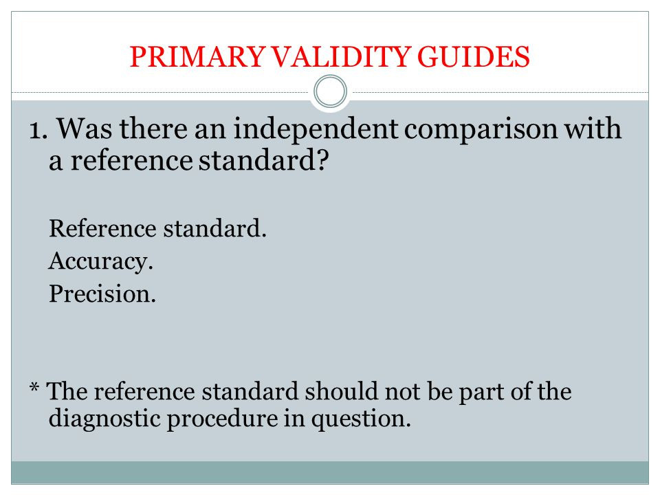 PRIMARY VALIDITY GUIDES