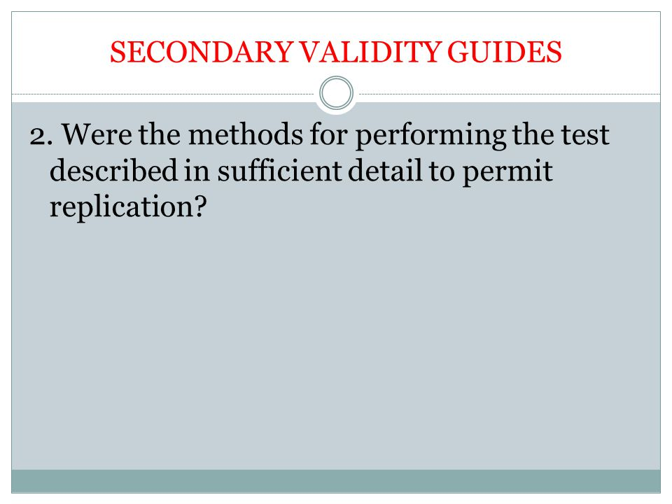 SECONDARY VALIDITY GUIDES
