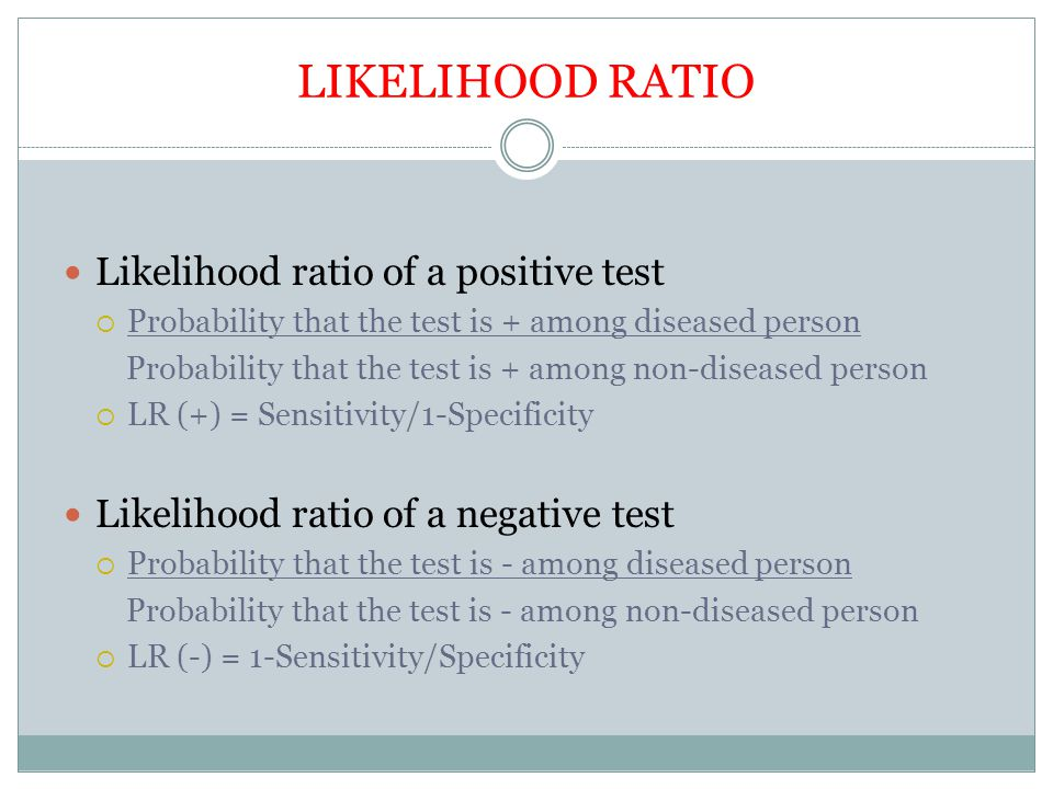 LIKELIHOOD RATIO Likelihood ratio of a positive test