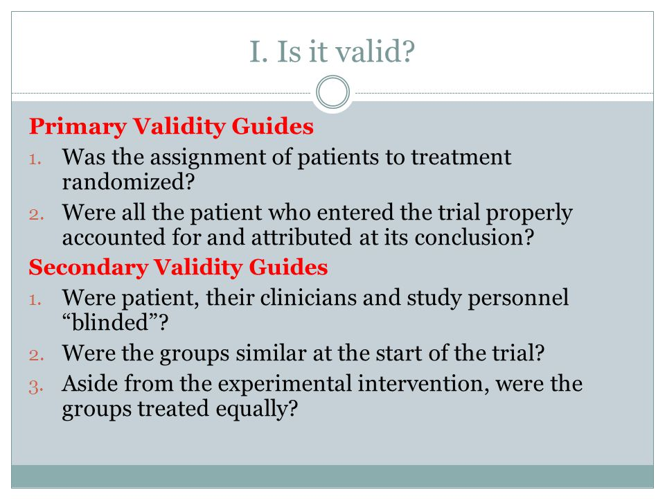 I. Is it valid Primary Validity Guides