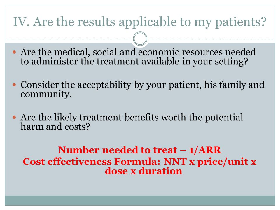 IV. Are the results applicable to my patients