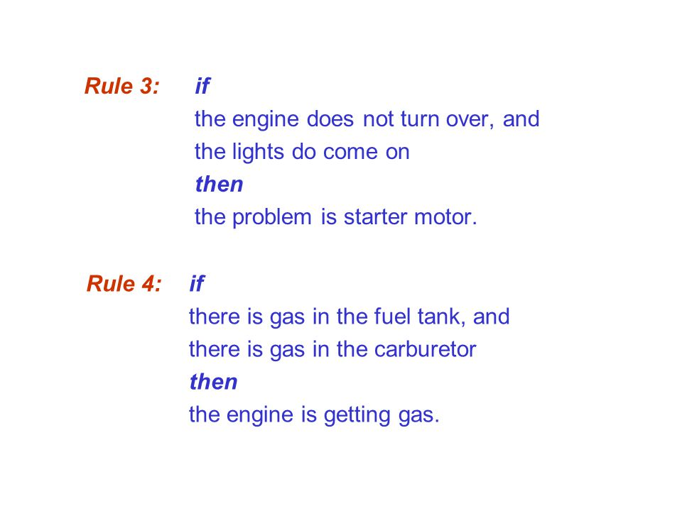 Rule 3: if the engine does not turn over, and. the lights do come on. then. the problem is starter motor.