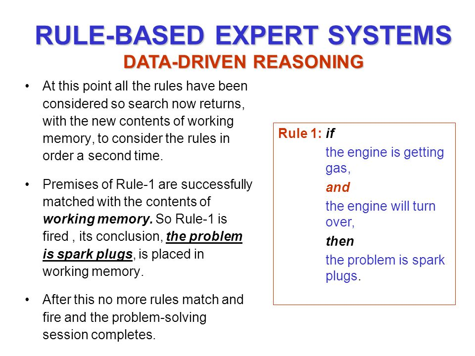 RULE-BASED EXPERT SYSTEMS DATA-DRIVEN REASONING