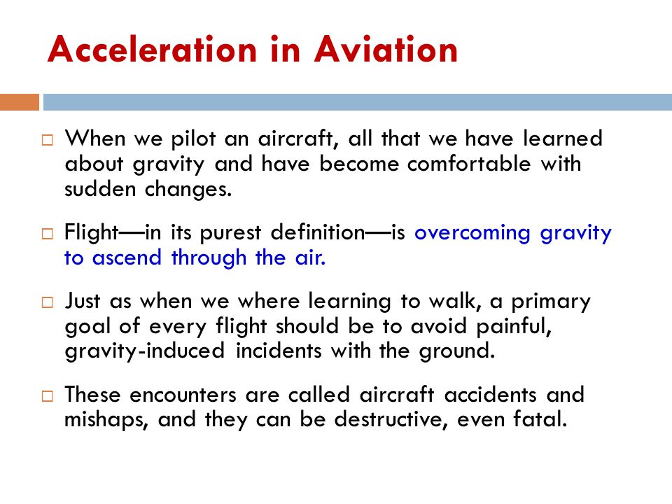 Acceleration in Aviation