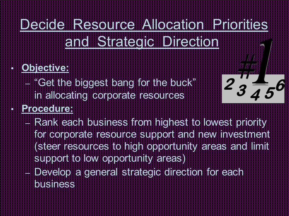 Decide Resource Allocation Priorities and Strategic Direction