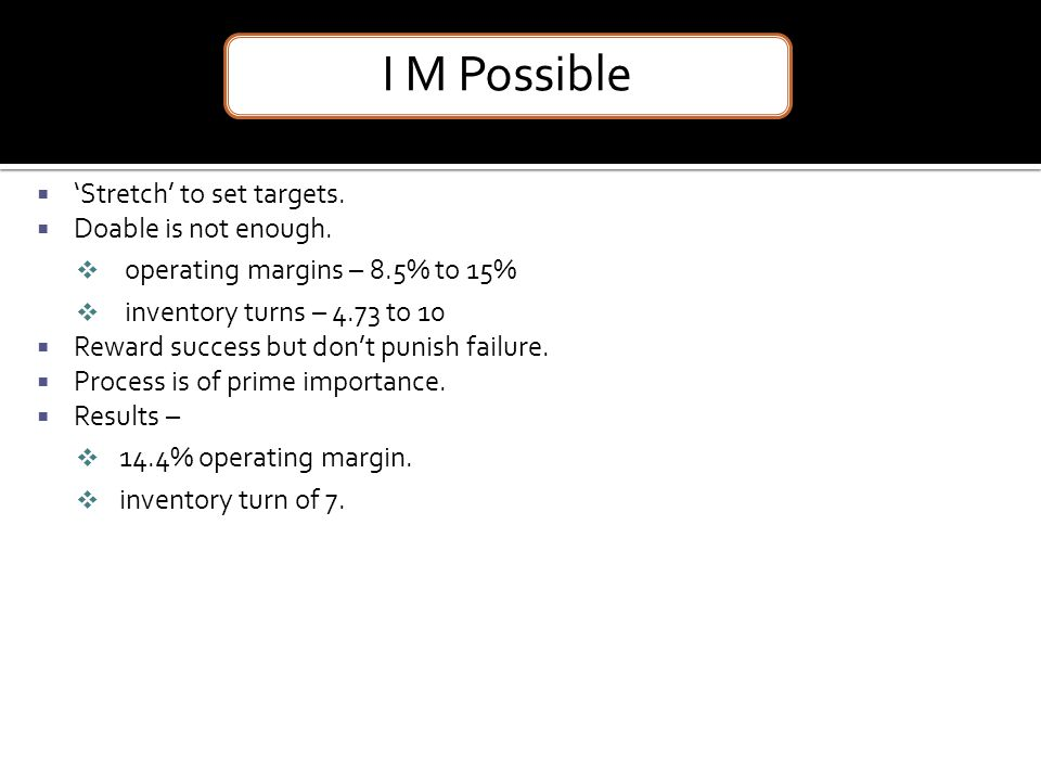 I M Possible 'Stretch' to set targets. Doable is not enough.