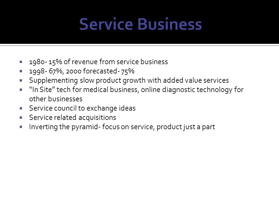 Service Business 1980- 15% of revenue from service business