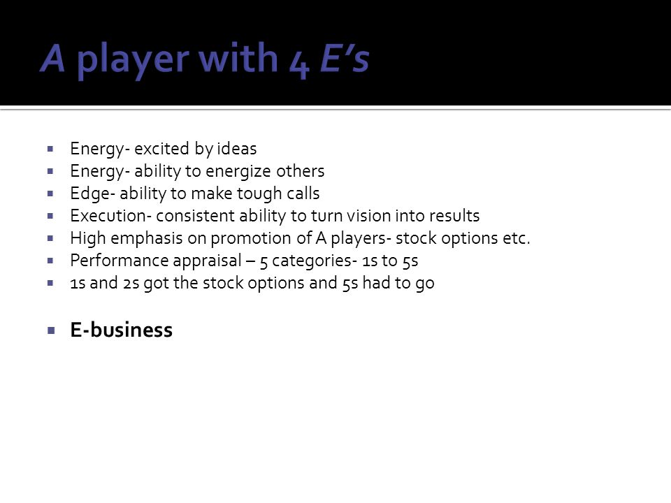 A player with 4 E's E-business Energy- excited by ideas