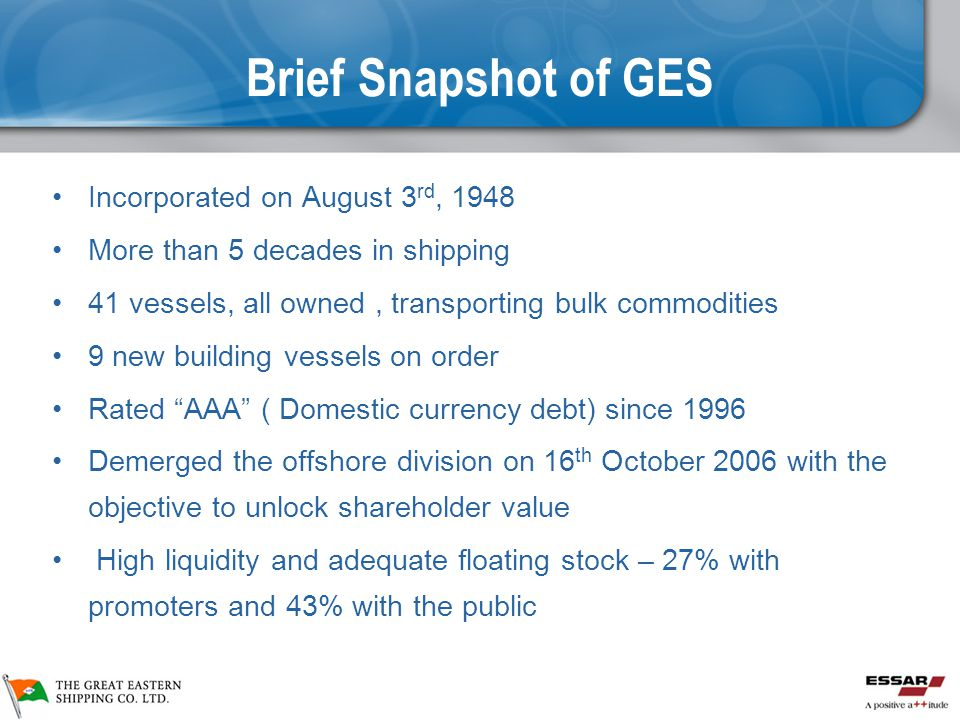 Brief Snapshot of GES Incorporated on August 3rd, 1948