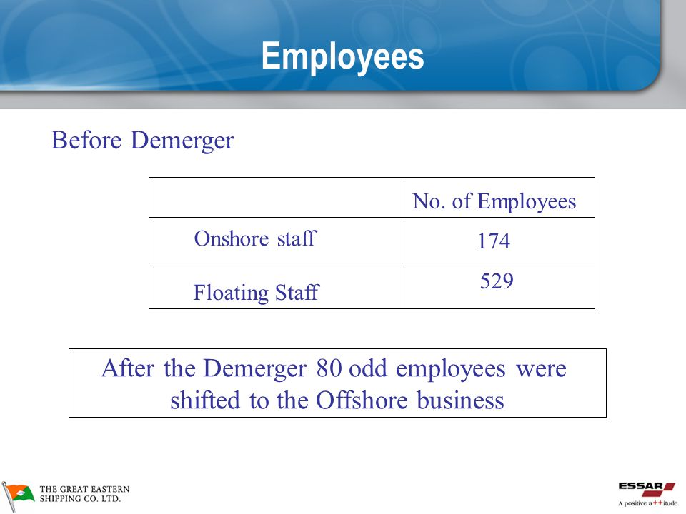 Employees Before Demerger After the Demerger 80 odd employees were