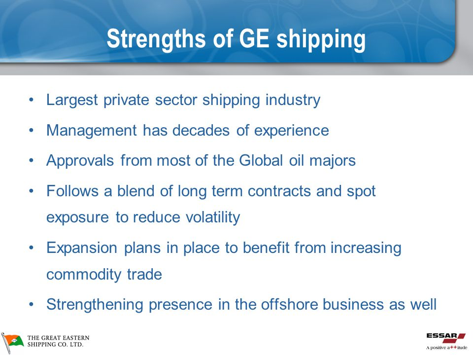 Strengths of GE shipping