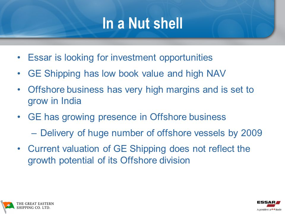 In a Nut shell Essar is looking for investment opportunities