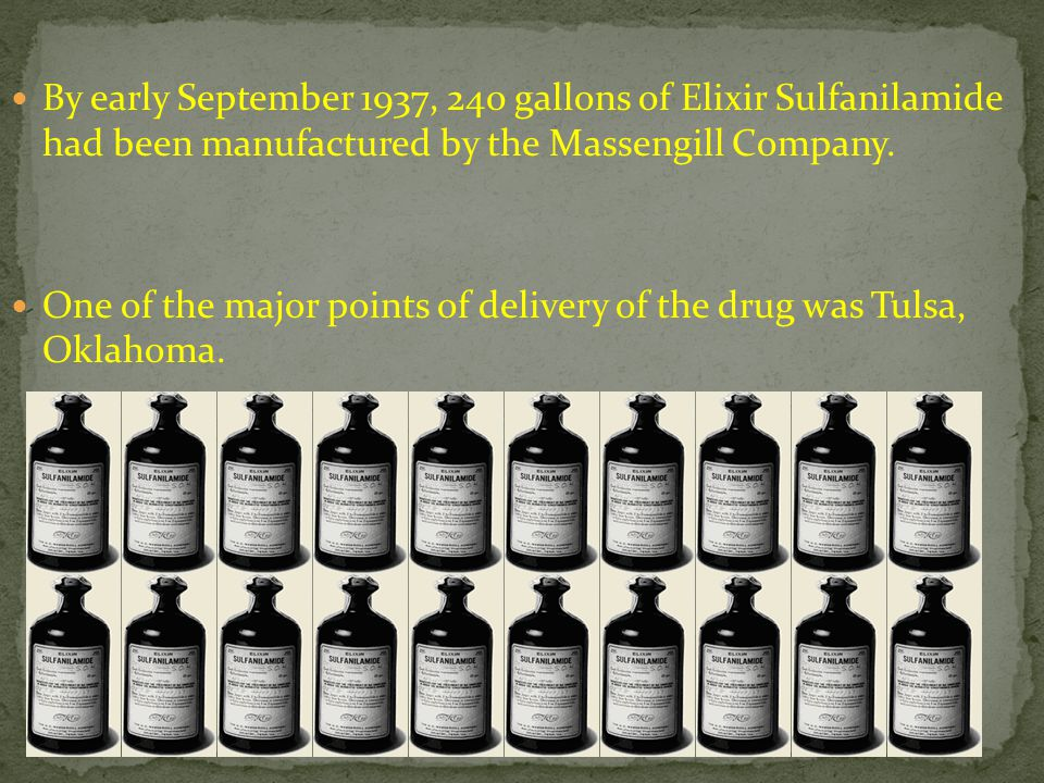 By early September 1937, 240 gallons of Elixir Sulfanilamide had been manufactured by the Massengill Company.