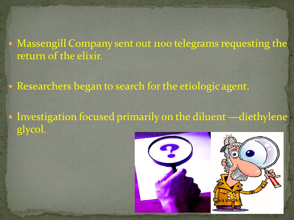 Massengill Company sent out 1100 telegrams requesting the return of the elixir.
