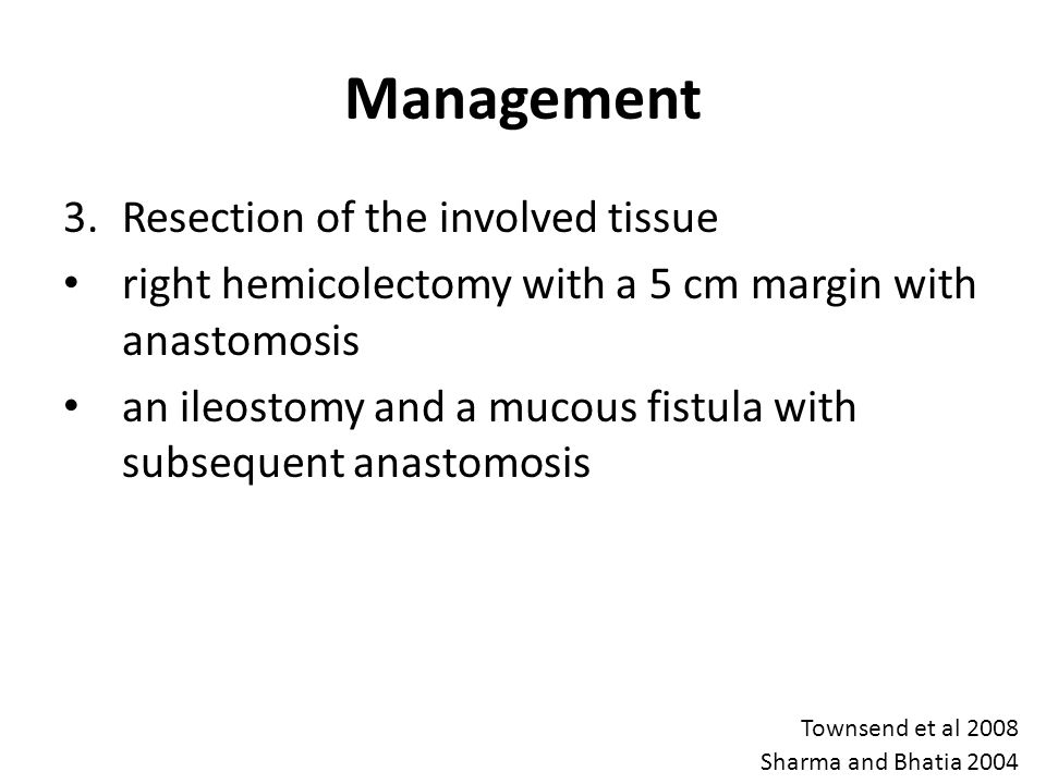 Management Resection of the involved tissue