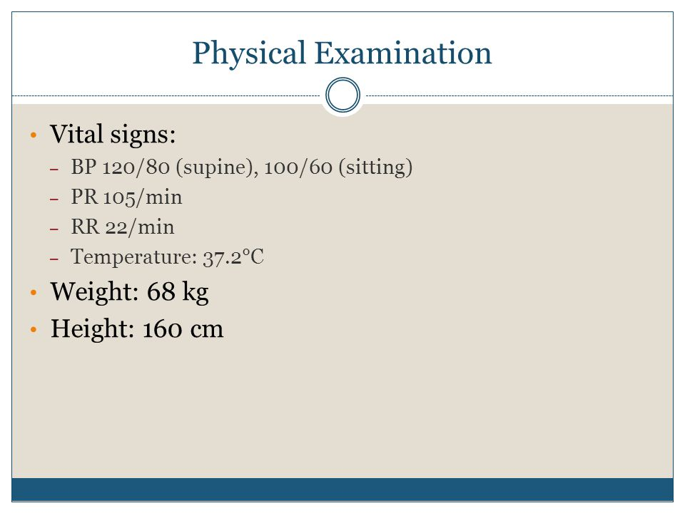 Physical Examination Vital signs: Weight: 68 kg Height: 160 cm