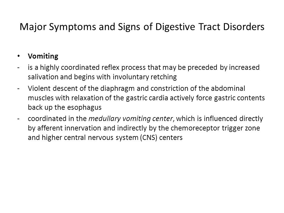 Major Symptoms and Signs of Digestive Tract Disorders