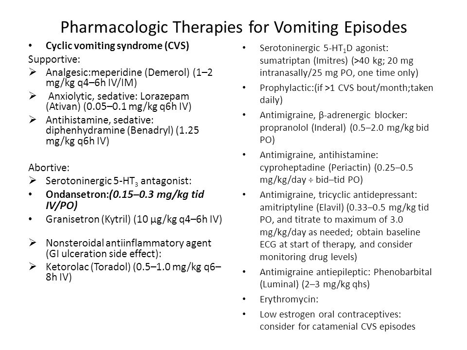 Pharmacologic Therapies for Vomiting Episodes
