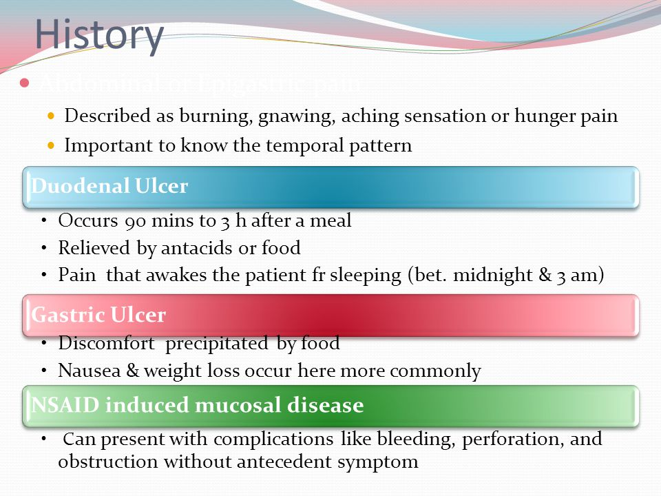 History Abdominal or Epigastric pain Duodenal Ulcer