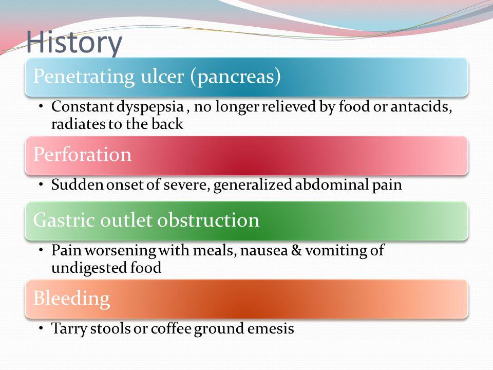 History Penetrating ulcer (pancreas)