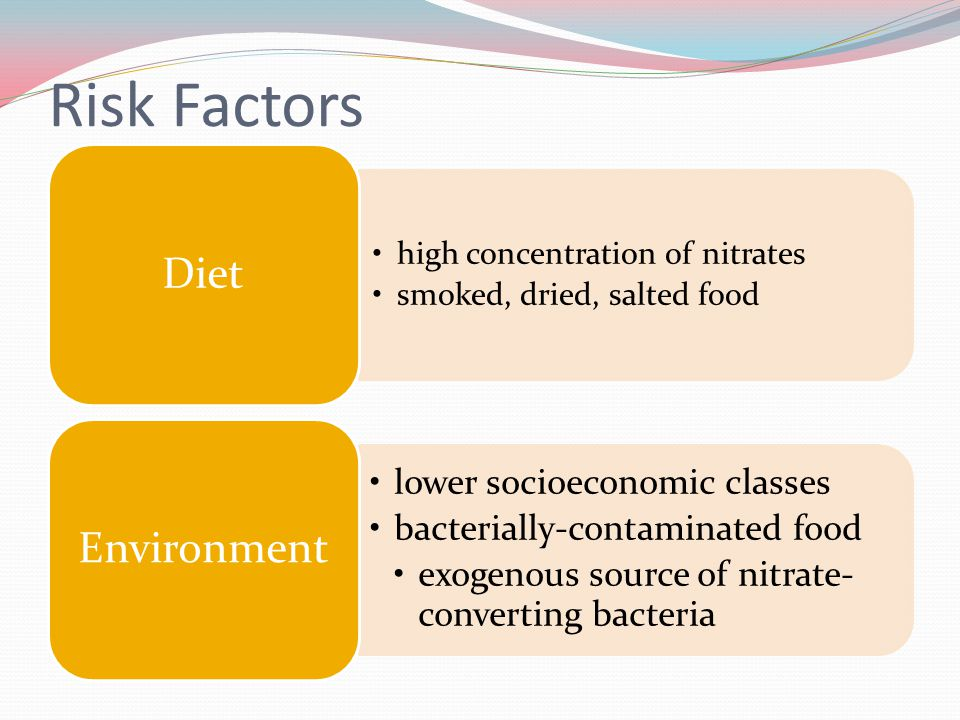 Risk Factors high concentration of nitrates smoked, dried, salted food