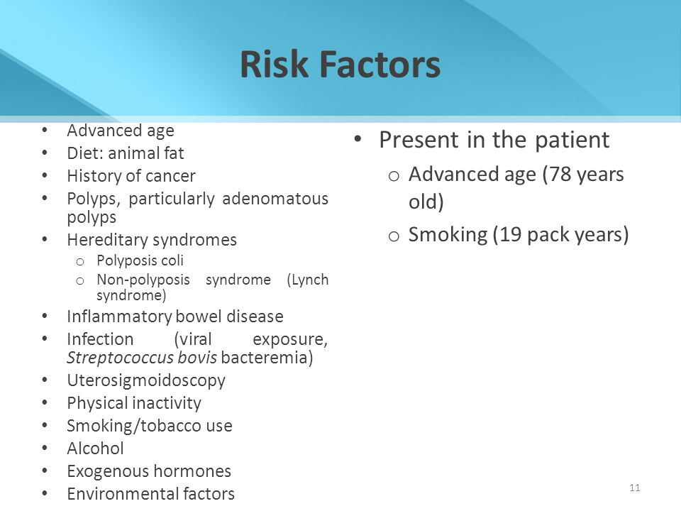 Risk Factors Present in the patient Advanced age (78 years old)