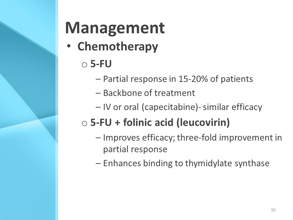 Management Chemotherapy 5-FU 5-FU + folinic acid (leucovirin)